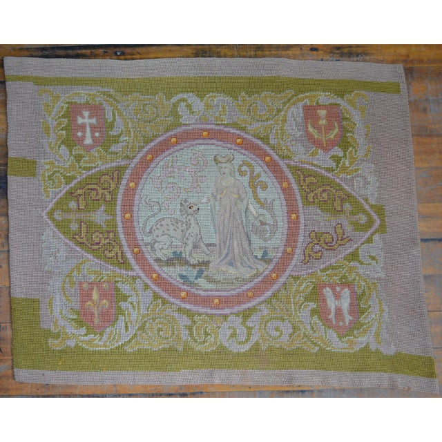 Lathe 19th Century Wool Needlepoint Panel With Lady and Cheetah For Sale - Image 13 of 13