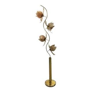 1970s Vintage Italian Glass Lotus Flower Floor Lamp For Sale