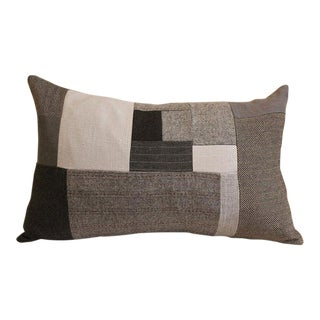 Gray Flannel Wool Patchwork Throw Pillow