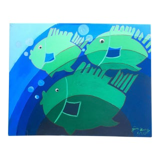 « Fish in the Blue Ocean » Oil Painting Original and Signed by Artist Jane Kong