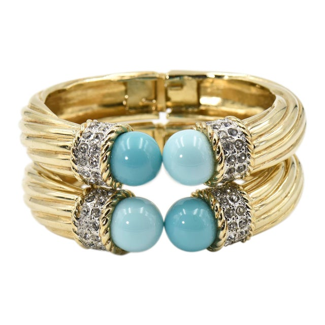 Italian Costume Turquoise Crystal Gold Plated Bangle Bracelets For Sale