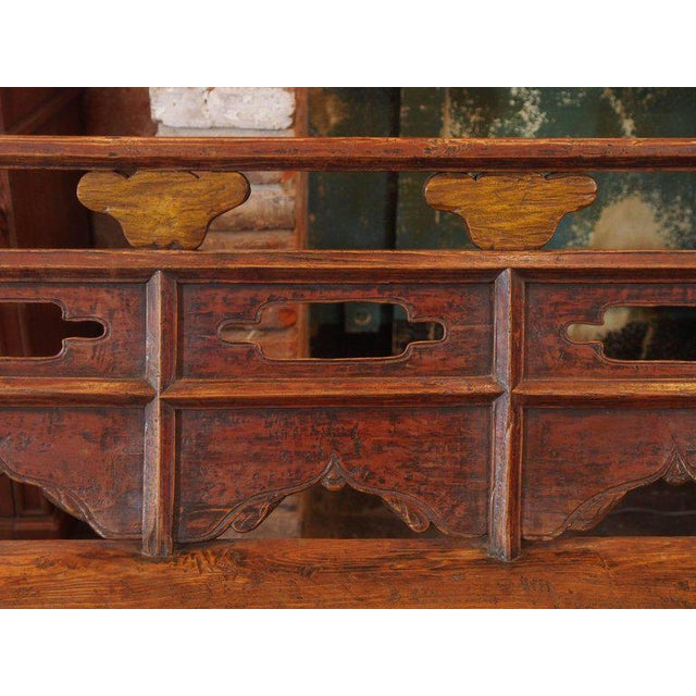 Antique Chinese Shanxi Province Painted Elm Bench, circa 1860 For Sale - Image 4 of 8