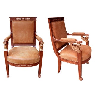 A Good Pair of French Empire Armchairs With Sphinx-Head Motifs For Sale