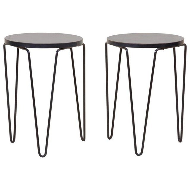 Lacquer Pair of Early Original Vintage Hairpin Stacking Stools or Side Tables by Knoll For Sale - Image 7 of 7