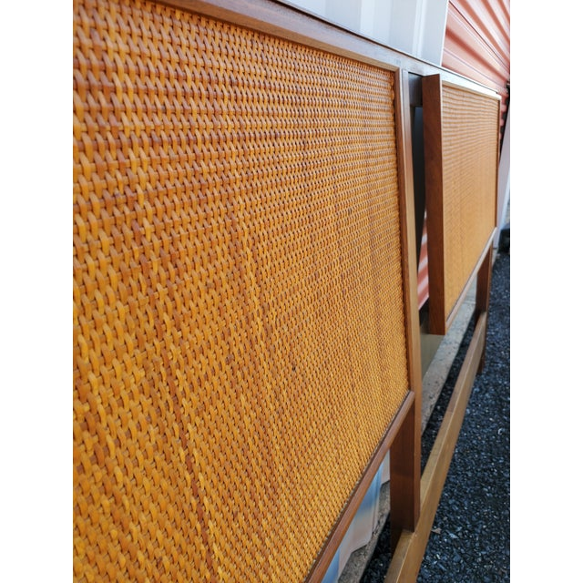 Mid-Century Modern Mid-Century Modern Walnut and Cane King Headboard Designed by Kipp Stewart for Calvin For Sale - Image 3 of 9