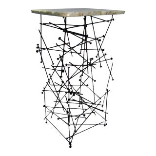 Industrial Metal and Stone Sculptural Accent Table For Sale