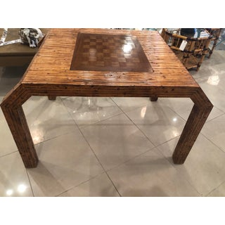 Vintage Hollywood Regency Palm Beach Flat Reed Bamboo Rattan Game Dining Table Preview