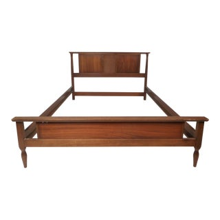 Mid-Century Modern Full Size Walnut Headboard and Footboard For Sale