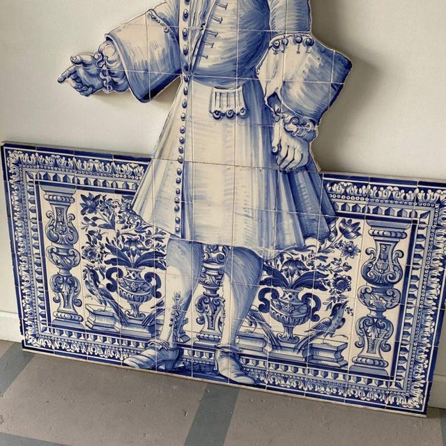 19th-C. Portuguese azulejo (painted tin-glazed ceramic tilework) featuring a gentleman and figural design. Height: 77.75″...