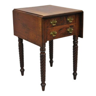 19th Century Sheraton Mahogany Pembroke Spiral Leg Drop Leaf Sewing End Table For Sale