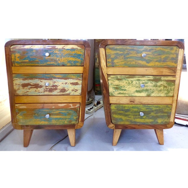 1950's Style Distressed Finish Wood Nightstands -A Pair - Image 2 of 10