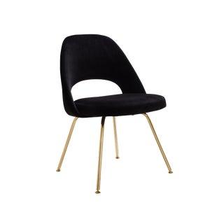 Original Saarinen Executive Armless Chairs Restored in Noir Velvet, Custom 24k Gold Edition For Sale