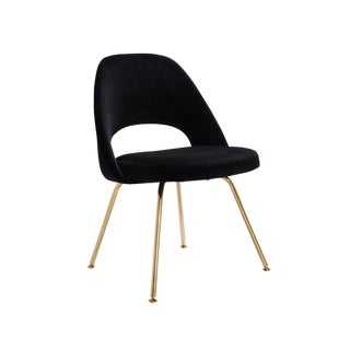 Saarinen Executive Armless Chairs in Noir Velvet, 24k Gold Edition For Sale