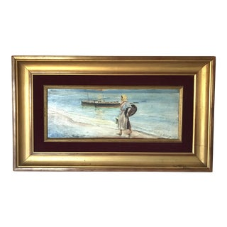 Woman on Beach, Antique Oil Painting by Serranno