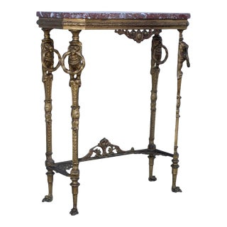 1940's French Bronze and Marble Petite Console For Sale