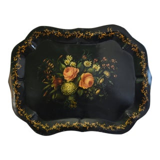 1930s Hand-Painted Floral Tole Tray