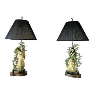 Mid Century Modern Asian Figurine Lamps - a Pair For Sale