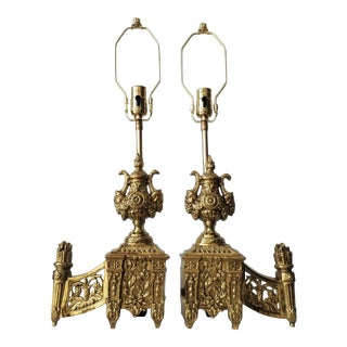 Antique French Neoclassical Fireplace Chenet Lamps - a Pair For Sale