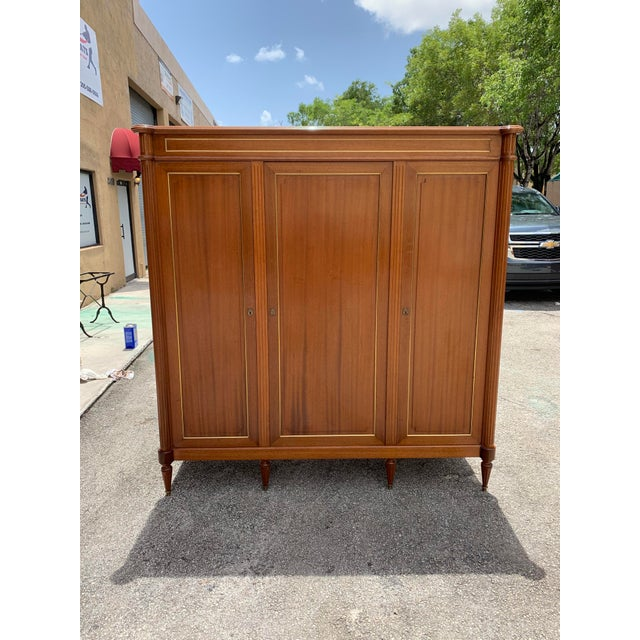 1910s French Louis XVI Antique Mahogany Armoire For Sale - Image 13 of 13