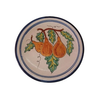 Vintage Mexican Redware Pears Decorative Plate For Sale