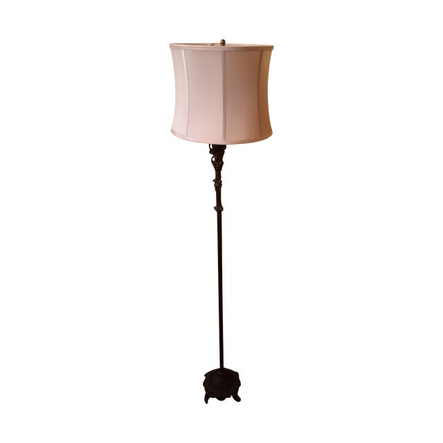 Art Nouveau-Style Floor Lamp With Silk Shade For Sale
