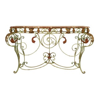French Victorian Iron and Marble Console Table For Sale
