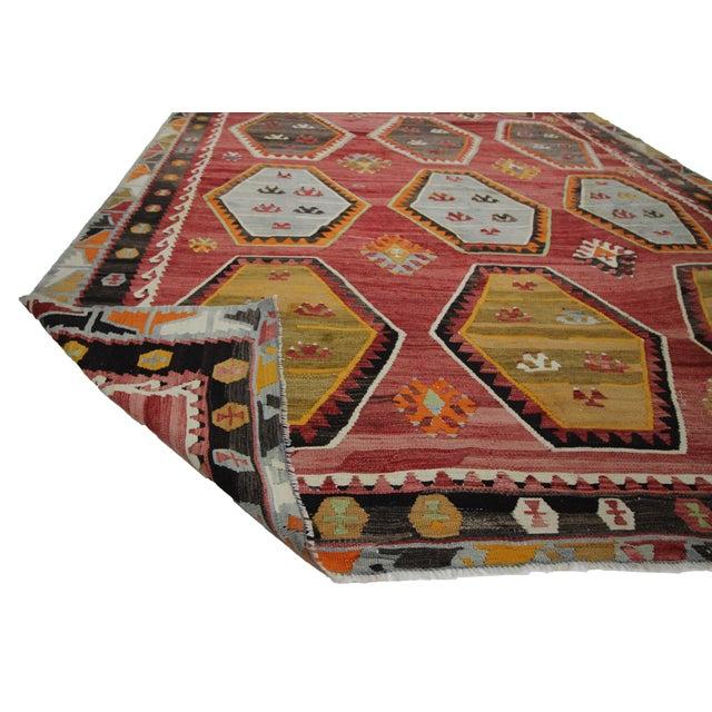 1960s 1960s Vintage Turkish Sivas Wool Kilim Rug- 7′6″ × 11′9″ For Sale - Image 5 of 7