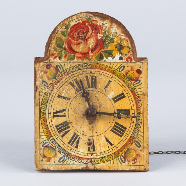 Metal French Foret Noire Clock Painted Face, 19th Century For Sale - Image 7 of 13