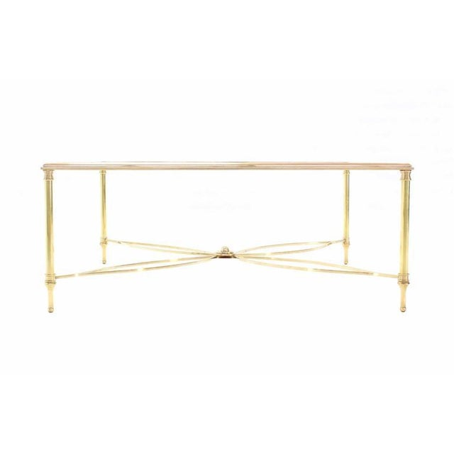 High End Large Square Brass Coffee Table W Lotus Like Base