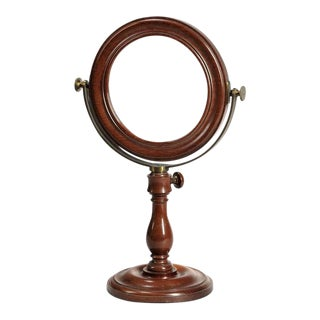 Large 19th Century French Laboratory Magnifying Mahogany Table Mirror