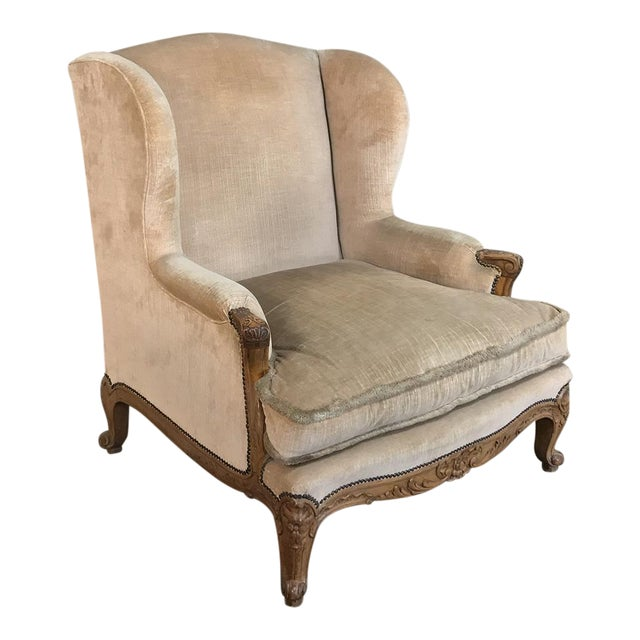 Antique French Walnut Louis XV Wingback Armchair For Sale