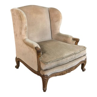 Grand French Walnut Louis XV Wingback Armchair For Sale
