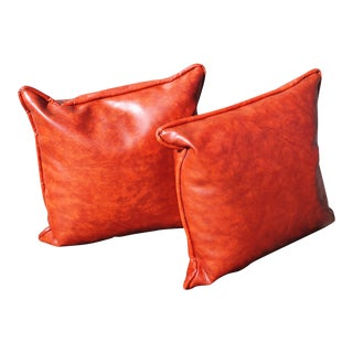 VIntage Burnt Orange Naugahyde Vinyl Throw Pillows - a Pair For Sale