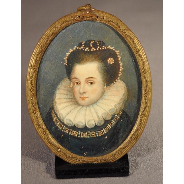 Portraiture Fine 19th Century Portrait Miniature of a Young Queen Elizabeth I For Sale - Image 3 of 3