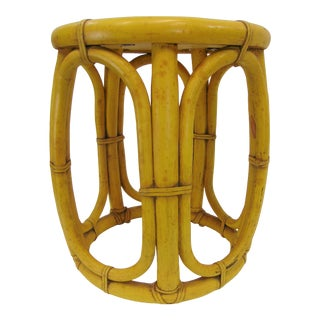McGuire Yellow Lacquered Bamboo Side Table For Sale