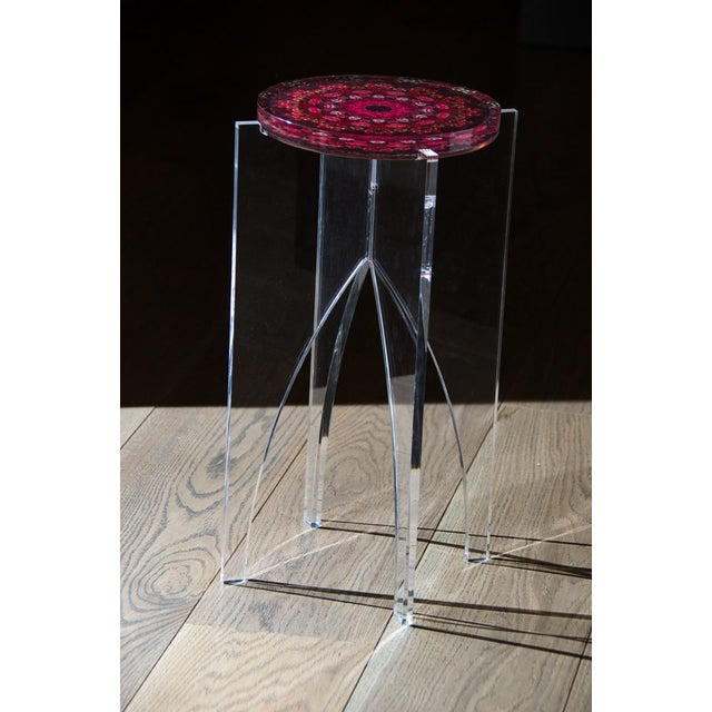 Contemporary Organic Modern Signed Hand Made Acrylic Mandala Side Table For Sale - Image 3 of 3