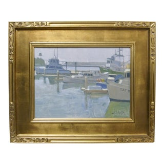 Paul Strahm Original New California Boat Harbor Seascape Signed Oil Painting For Sale