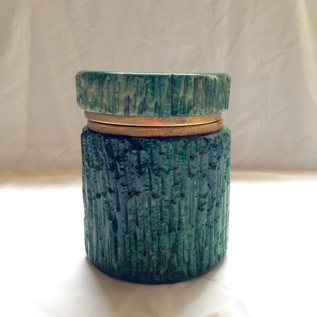 Ceramic Italian Green Marble Box For Sale - Image 7 of 9