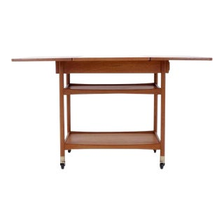 Danish Modern Drop Leaf Teak Serving Cart For Sale