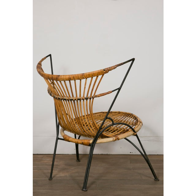 Lacquer Set of 3 Metal and Wicker Slipper Chairs For Sale - Image 7 of 11