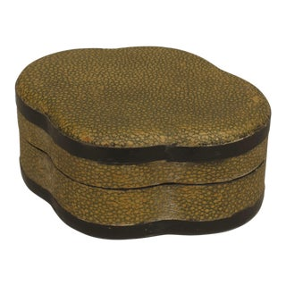 English Art Deco Yellow/green Shagreen Ovoid Shaped Box For Sale