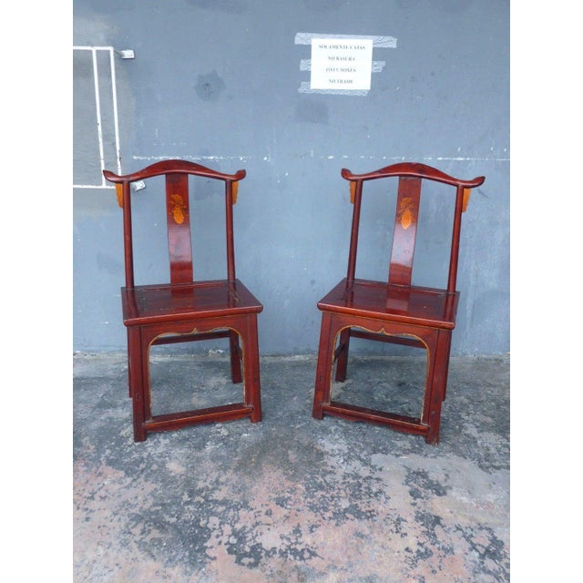 Pair of 19th Century Red Lacquer Ming Chairs For Sale - Image 13 of 13