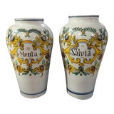 Image of Italian Faience Spice Urns - a Pair For Sale