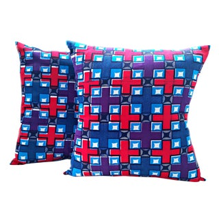 Purple African Print Fabric Pillow Covers - A Pair