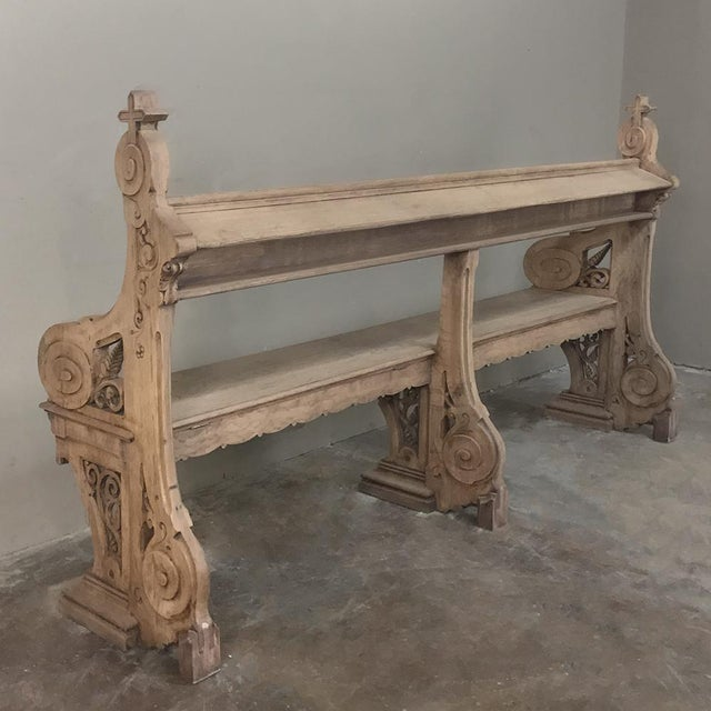 Oak 19th Century Gothic Stripped Oak Church Pew For Sale - Image 7 of 13