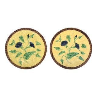 Antique French Yellow Floral Majolica Plates - a Pair For Sale