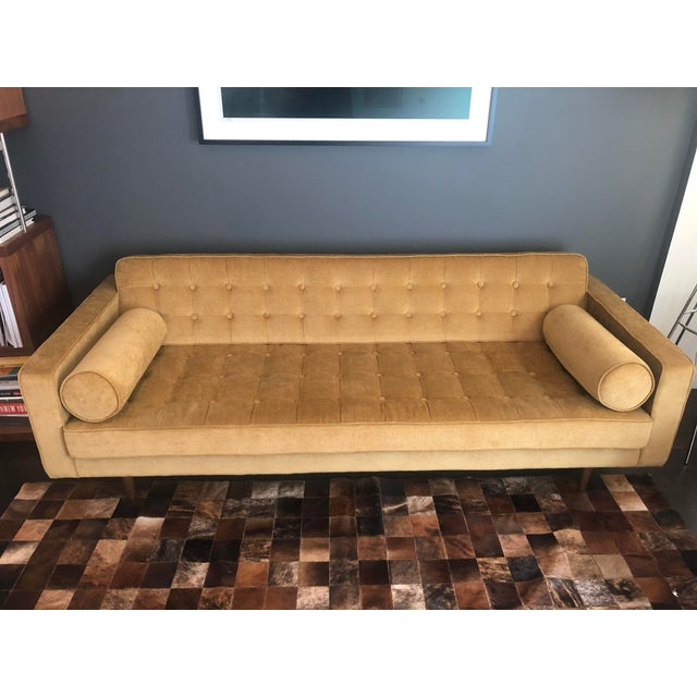 2010s Hd Buttercup Yellow Velvet Sofa For Sale - Image 5 of 5