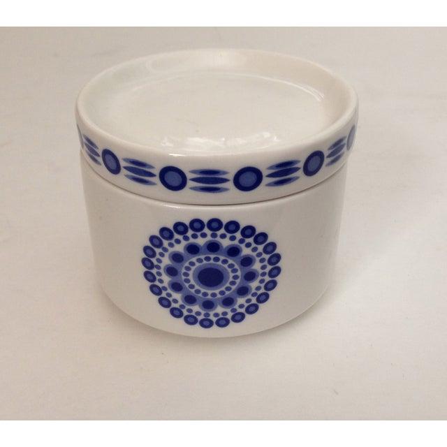 Mid-Century Blue & White Sugar Bowl - Image 2 of 7