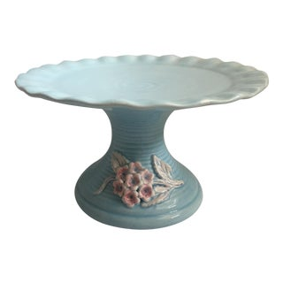 Pale Blue Floral Ceramic Cake Stand With Ruffled Edge For Sale