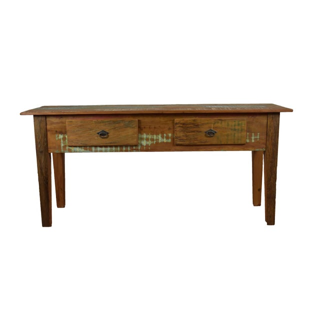 Reclaimed Wood Console Table For Sale - Image 4 of 4